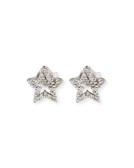 DIAMOND STAR STUD EARRINGS IN 18K WHITE GOLD