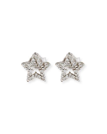 Roberto Coin Diamond Star Stud Earrings in 18K