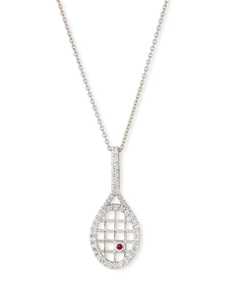 Diamond Tennis Racket Pendant Necklace in 18K White Gold