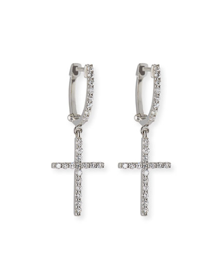 Diamond Cross Charm Hoop Earrings in 18K White Gold