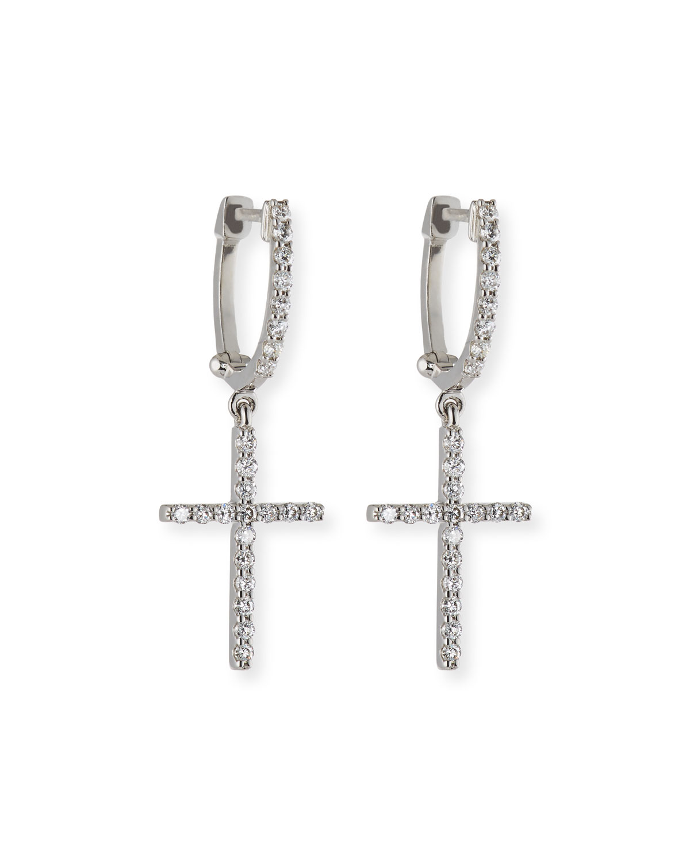 Diamond Cross Charm Hoop Earrings In 18k White Gold