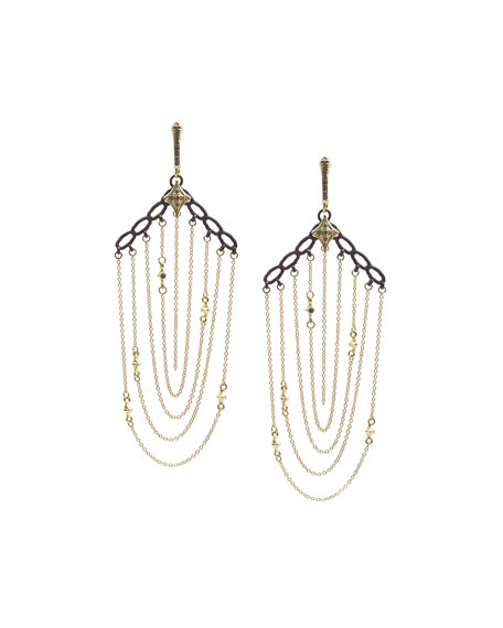 Old World 18k Gold/Silver Chain Earrings with Champagne Diamonds