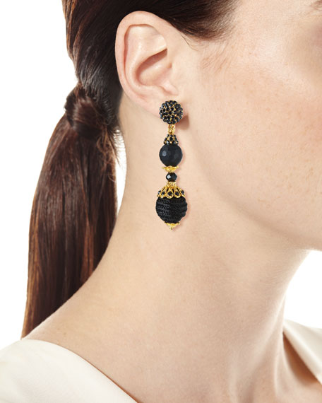 Black Crystal Three-Drop Clip-On Earrings
