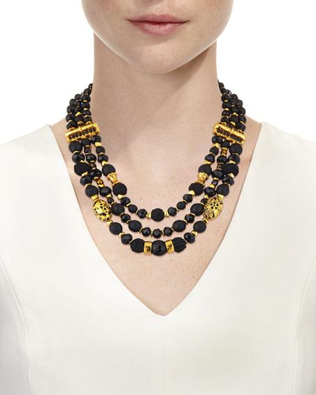 Black Passementerie Beaded Necklace