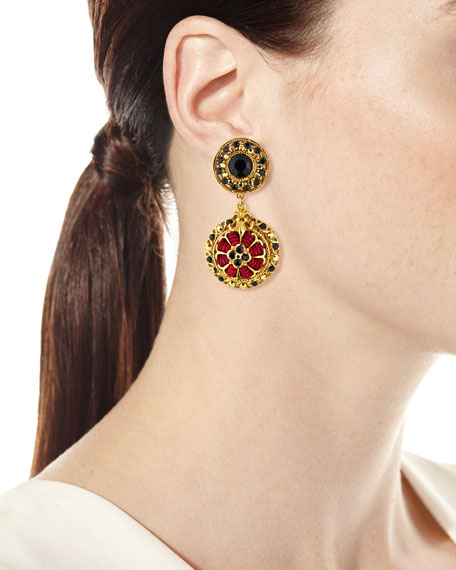 Black Austrian Crystal & Burgundy Cord Drop Earrings
