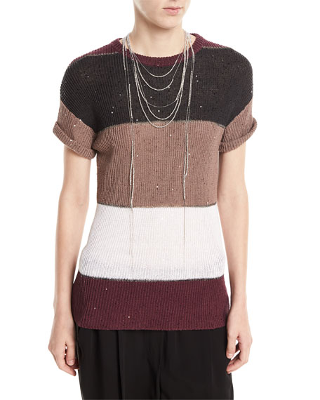 Brunello Cucinelli Lariat Beaded Choker Necklace and Matching