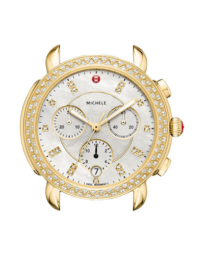 Sidney 18K Gold-Plate Watch Head with Diamonds