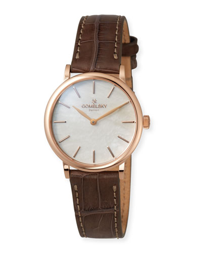 The Agnes 32mm Mother-of-Pearl Watch with Brown Alligator Strap