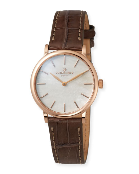 The Agnes Varis 32mm Mother-of-Pearl Watch with Brown Alligator Strap