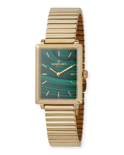 The Shirley 32mm Malachite Watch with Bracelet Strap