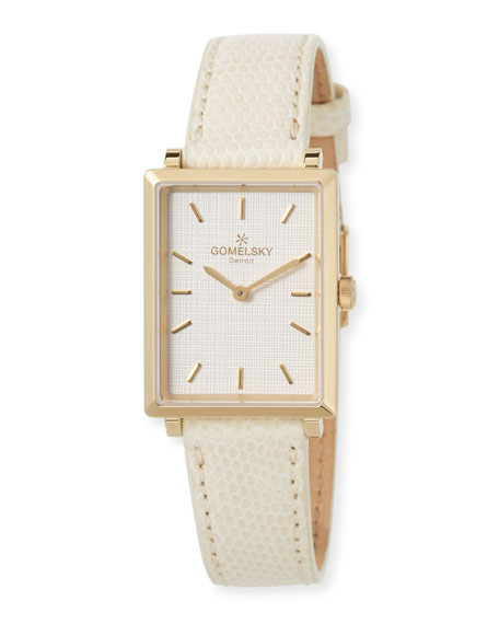 The Shirley 32mm Watch with Ivory Lizard Strap