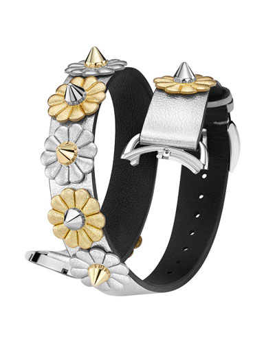 17mm Catalan Metallic Flower-Studded Leather Watch Strap
