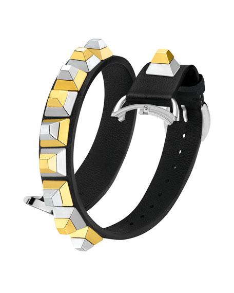 17mm Dolce Stud Black Leather Watch Strap