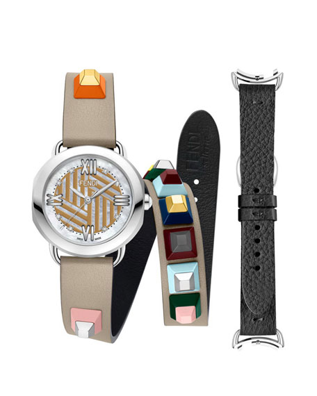 Studded Leather Strap Watch with Diamonds