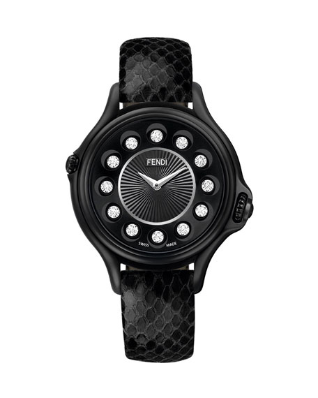 Crazy Carats Black Python Strap Watch