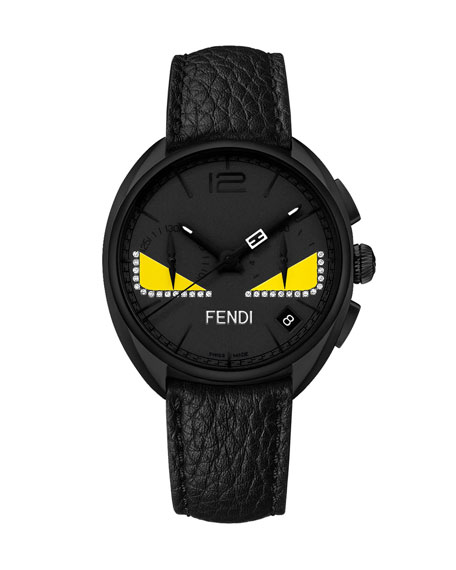 Fendi Black Stainless Steel Monster Watch with Diamonds