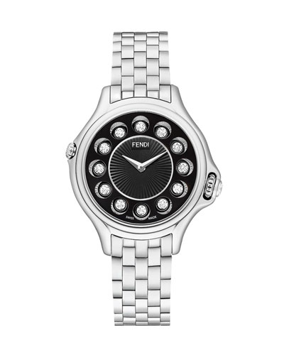 Crazy Carats Stainless Steel Topaz Watch with Black Dial