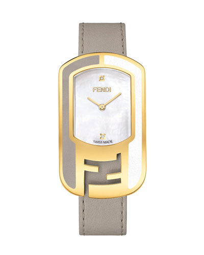 Mother-of-Pearl Watch with Leather Strap