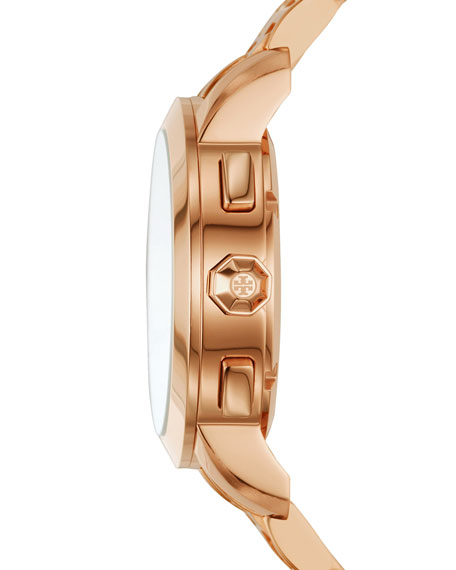 The Tory Classic Chronograph Watch, Rose-Golden/White