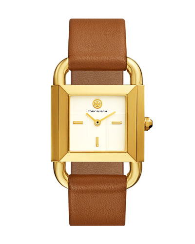 The Phipps Leather Strap Watch, Golden/Brown
