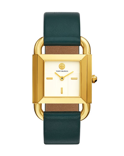 The Phipps Leather Strap Watch, Golden/Green