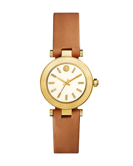 Classic T Leather Strap Watch, Luggage/Golden