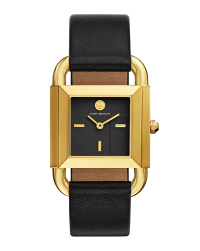 The Phipps Leather Strap Watch, Golden/Black