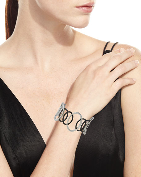 New World Large Open Circle Cuff Bracelet with Black Spinel