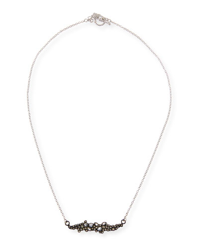 New World Diamond & White Sapphire Cluster Bar Necklace
