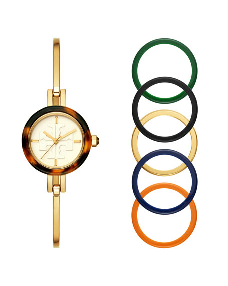 The Gigi Bangle Watch With Interchangeable Top Rings by Tory Burch