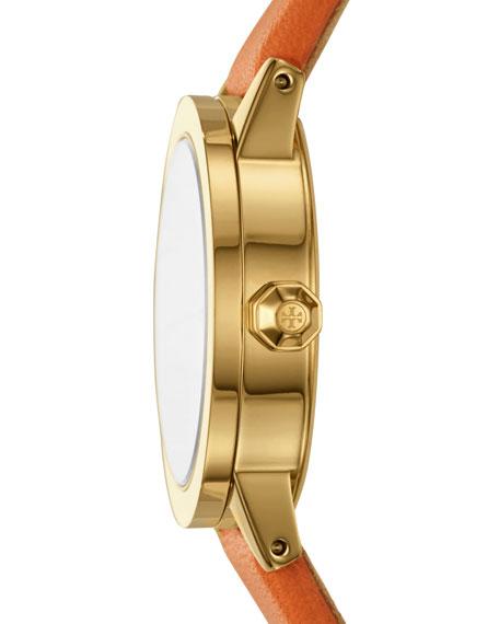 The Gigi Golden Watch with Orange Leather Strap