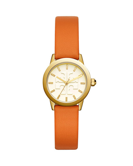 The Gigi Golden Watch with Orange Leather Strap