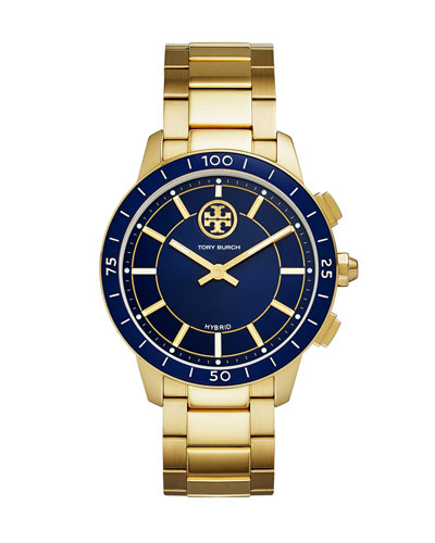 The ToryTrack Collins Smartwatch with Striped Strap, Blue/Golden