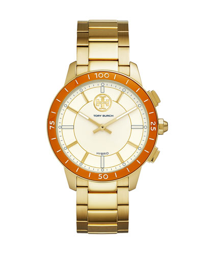 The ToryTrack Collins Hybrid Smartwatch with Bracelet Strap, Golden/Orange