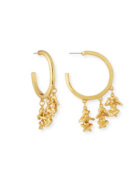 No Evil Charm Drop Hoop Earrings