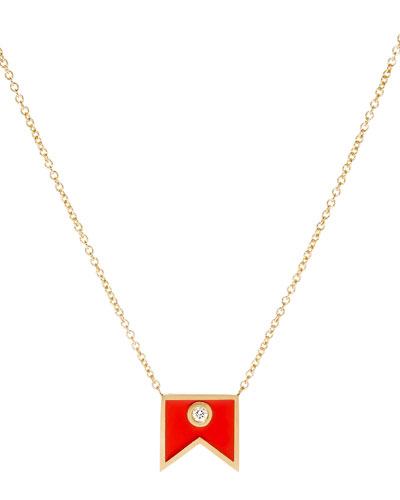 Code Flag Diamond Pendant Necklace - B