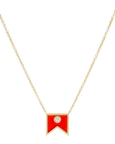 Code Flag Diamond Pendant Necklace - B