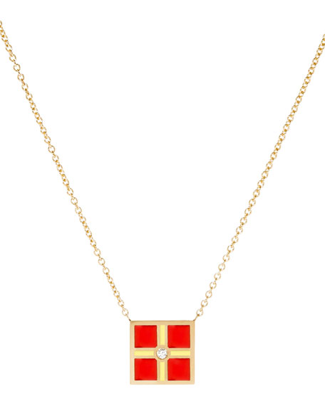 Code Flag Square Diamond Pendant Necklace - R