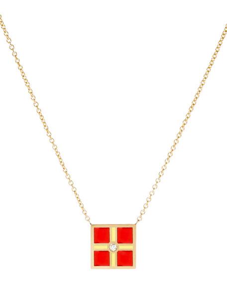 Code Flag Square Diamond Pendant Necklace - R