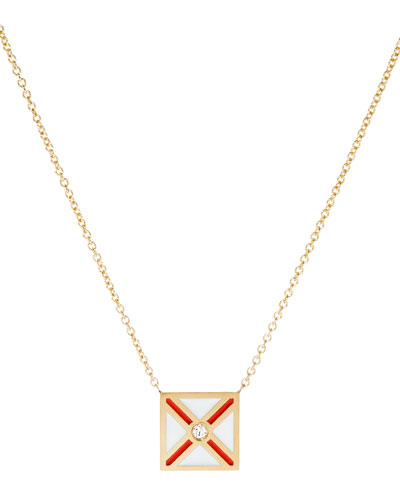 Code Flag Square Diamond Pendant Necklace - V