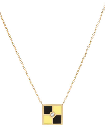 Code Flag Square Diamond Pendant Necklace - L