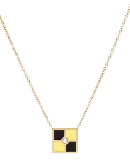 Code Flag Square Diamond Pendant Necklace - L