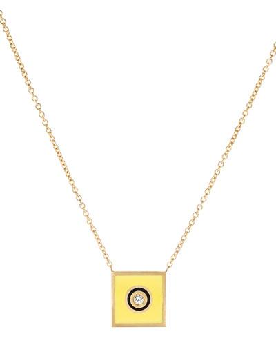 Code Flag Square Diamond Pendant Necklace - I