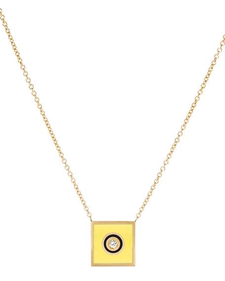 K Kane Code Flag Square Diamond Pendant Necklace - G UxV5z0