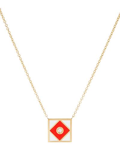 Code Flag Square Diamond Pendant Necklace - F