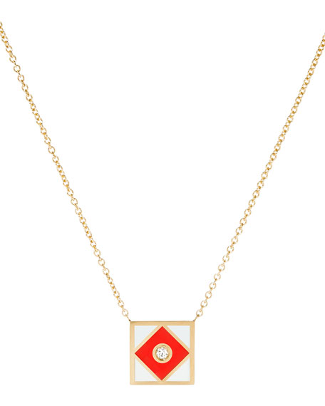 Code Flag Square Diamond Pendant Necklace - F