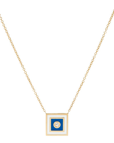 Code Flag Square Diamond Pendant Necklace - S