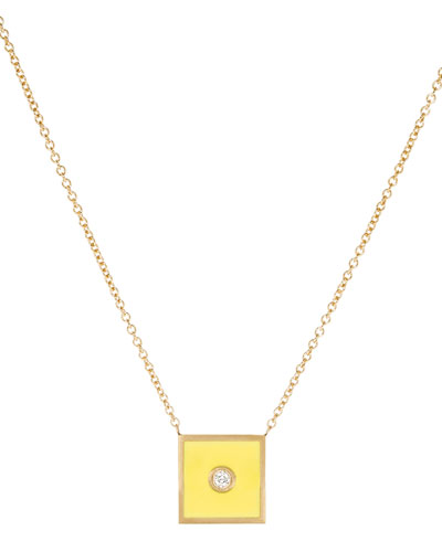 Code Flag Square Diamond Pendant Necklace - Q