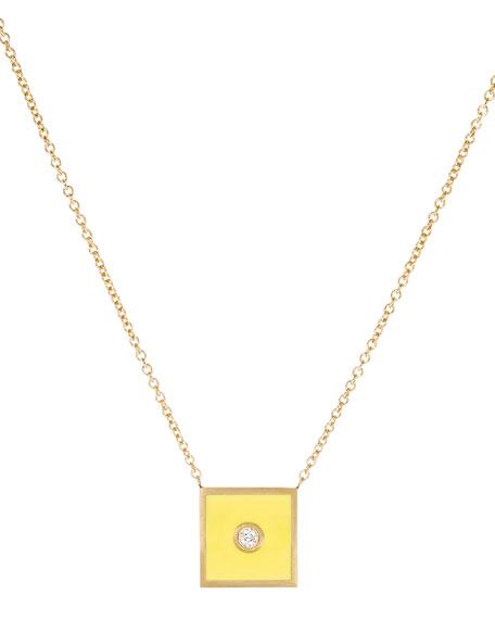 Code Flag Square Diamond Pendant Necklace - Q