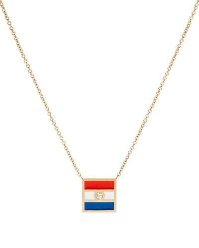 Code Flag Square Diamond Pendant Necklace - T